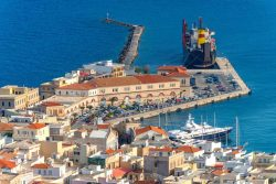 Greece cyclades Syros island, panormic view of main harbor with yachts