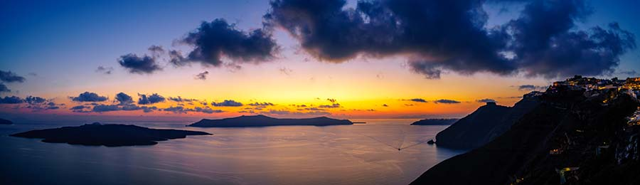 More Greece Cyclades islands panorama after sunset including Volcano, Thirasia and Santorini